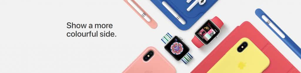 image of colourful new ipad and iphone cases apple watch bands and apple pencil cases