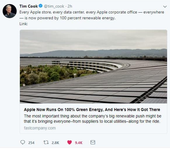 Tim Cook Twitter announcing Apple running on 100% green energy